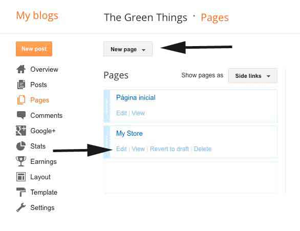 create a static page