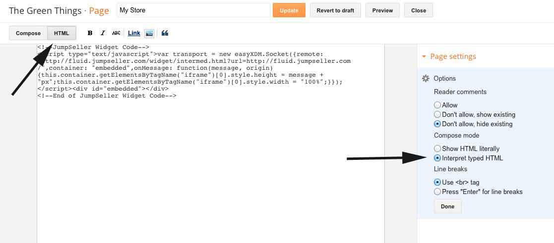 embed widget at blogger